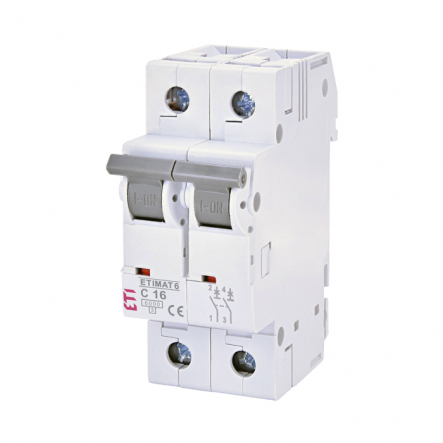 Автоматический выключатель ETI 6 2p C 16A (6kA) 2143516 - 1