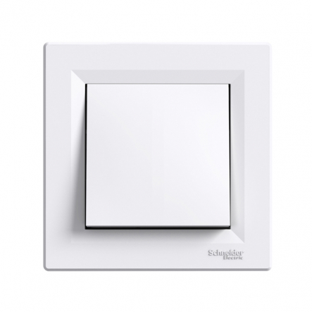 Выключатель 1-клавишный самозажимной белый ASFORA - 1