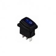 Перемикач 1 клав. вологозах. з підсвічуванням KCD1-2-101WN BL/B  220V АСКО
