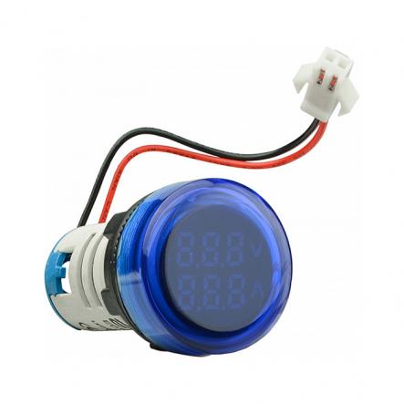 Амперметр+вольтметр круглый цифровой универсал.ток + напряж.ED16-22 VAD0-100А 50-500В(синий)врезн. - 1