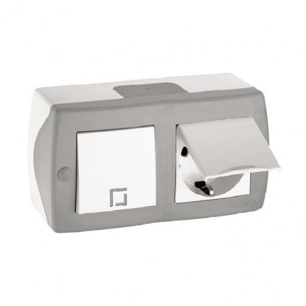Выключатель 1кл+розетка с заземлением с крышкой накладной Mono Electric, OCTANS IP 20 серый - 1