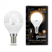 Лампа Gauss LED Black G45 9.5W 3000K E14