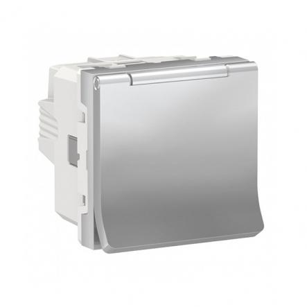 Розетка со шторками и крышкой Schneider Electric NU303730TA (винтовой зажим) 16А (алюминий) - 1