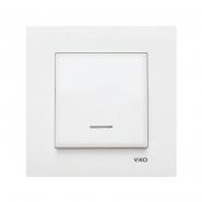 Выключатель одноклавишный с подсветкой белый VIKO Серия KARRE