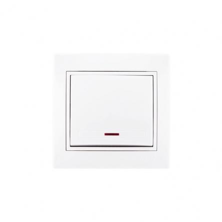 Выключатель с подсветкой с белой вставкой белый MIRA LEZARD - 1