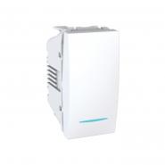 Выключатель одноклавишный с подсветкой белый Unika 1модуль