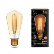Лампа Gauss LED Black FIL ST64 E27 8W Golden 2400K