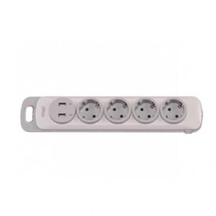 Колодка Luxel Nota 4 розетки с заземлением и выключателем +2 USB (4351) - 1