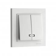 Выключатель 2кл. с подсвет. Mono Electric, DESPINA (белый)