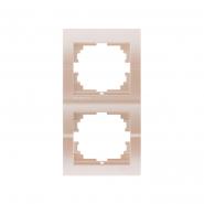 Рамка 2-я вертикальная  жемчужно-белый металлик Lezard серия  DERIY