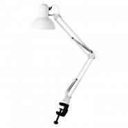 Настольная лампа FERON DE1430 на струбцине  белый  E27,  сетевой шнур с выкл. 1,5м