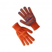 Перчатки трикотажные оранж.с ПВХ точкой75612