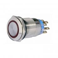 Кнопка металлическая  плоская с фиксацией. 2NO+2NC, с подсветкой, красная 220V TYJ 19-372крас АСКО-УКРЕМ