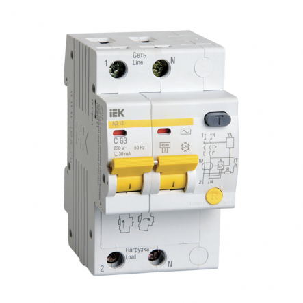 Дифференциальный автоматический выключатель IEK АД-12М 2р 25А 30мА - 1