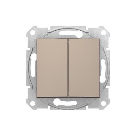 Выключатель двухклавишный титан - 1