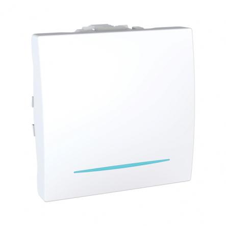 Выключатель одноклавишный с подсветкой белый Unika - 1