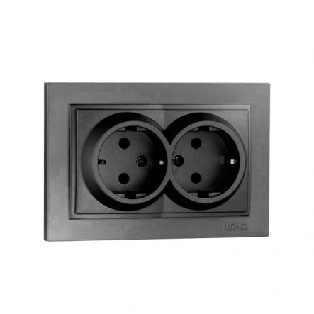 Розетка 2-я с заземлением , Mono Electric, DESPINA ( графит ) - 1