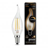 Лампа Gauss LED Filament   Свеча на ветру dimmable E14 5W 420lm 2700K