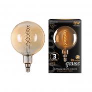 Лампа Gauss LED Filament G120  Flexible E27 6W Golden 2400K