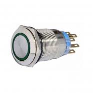 Кнопка металлическая  плоская с фиксацией. 2NO+2NC, с подсветкой, зеленая 220V TYJ 19-372зел  АСКО-УКРЕМ