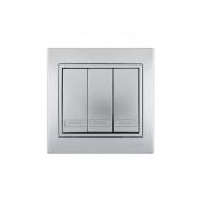 Выключатель 3-кл. металл серый со вставкой
