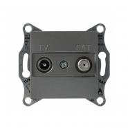 Розетка TV-SAT оконечная без рамки сталь Asfora, Schneider Electric EPH3400162