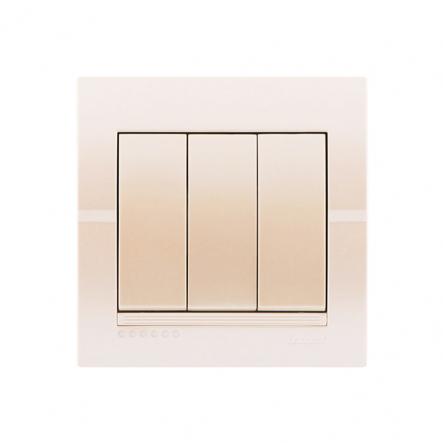 Выключатель 3-кл. жемчужно-белый металлик DERIY - 1