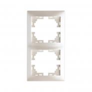 Рамка 2-я вертикальная  жемчужно-белый перламутр б/вставки Lezard серия MIRA