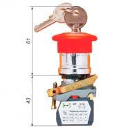"""Выключатель кнопочный ВК-011КГрКБ 4Р (грибок,""""красный"""", ключ-бирка) 4нз Промфактор"""