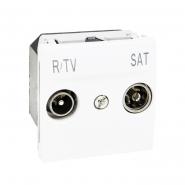 Розетка телевизионная ТV+R\SAT одинарная 2-х модульная белая Unika
