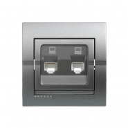 Розетка компьютерная двойная темно серый металлик Lezard серия  DERIY