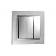 Выключатель  3 кл.  Mono Electric, DESPINA (серебро)