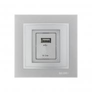 Розетка USB-ЗАРЯДКА, Mono Electric, DESPINA (серебро)