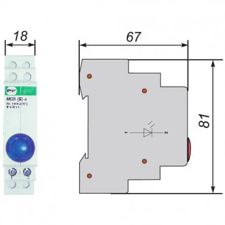 Сигнальная арматура модульная ЛСМ Промфактор ВК832 Г светодиодная голубая 220В - 1