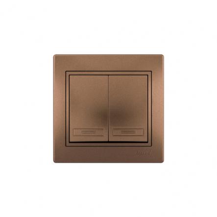 Выключатель 2-х клав. светло-коричневый перламутр с/вст. MIRA - 1