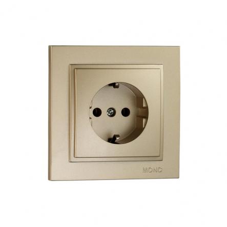 Розетка 1-я с заземлением , Mono Electric, DESPINA (титан) - 1