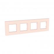 Рамка 4-местная розово-жемчужный UNIKA QUADRO
