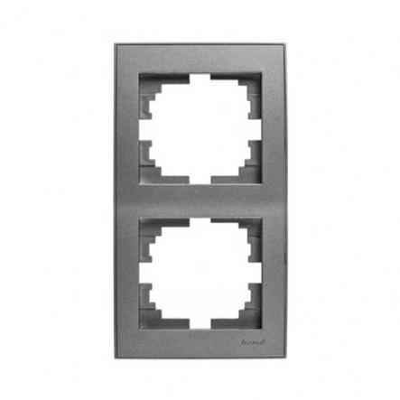 Рамка двухместная Lezard Rain вертикальная антрацит 703-4242-152 - 1
