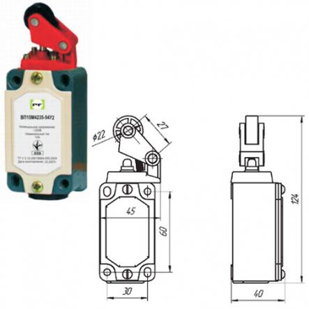 Выключатель концевой Промфактор ВП 15М 4235 рычаг с роликом нажатие сверху - 1
