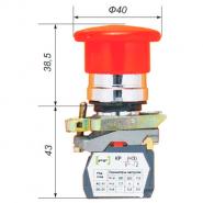 """Выключатель кнопочный ВК-011НГрК  1Р (грибок с возвратом, """"красный"""") укр.Промфактор"""