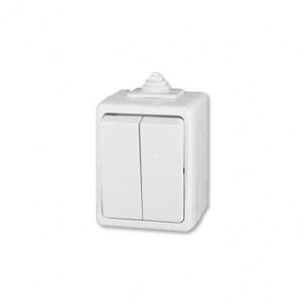 Выключатель двухклавишный наружной установки белый IP44 Practik - 1