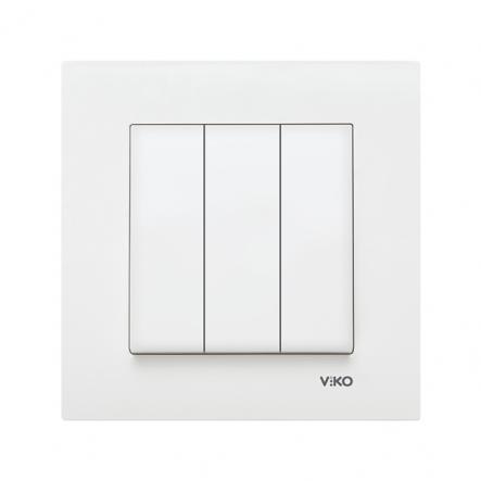 Выключатель трехклавишный белый VIKO Серия KARRE - 1