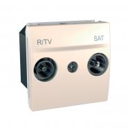 Розетка телевизионнаяТV+R/SAT проходная 2-х модульная слоновая кость