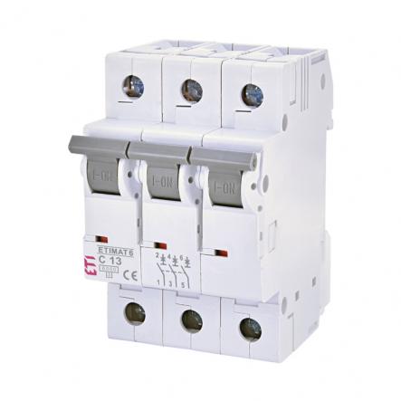 Автоматический выключатель ETI 6 3p C 13А (6 kA) 2145515 - 1