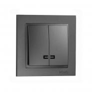 Выключатель  2кл. с подсветкой , Mono Electric, DESPINA ( графит )