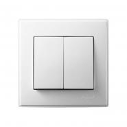 Выключатель двухклавишный Lezard Lesya без подсветки 10 А 250В белый 705-0202-101