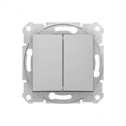 Выключатель 2 кл. алюминий Sedna - 1