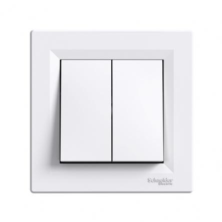 Выключатель 2-клавишный самозажимной белый ASFORA - 1