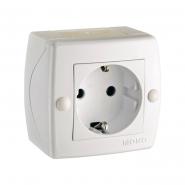 Розетка 1-я с заземлением накладная Mono Electric, OCTANS IP 20 белая