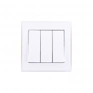 Выключатель трехклавишный белый Lezard серия RAIN